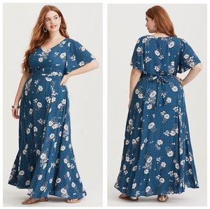 Torrid Gauze Floral Dot Maxi Dress Sz 18